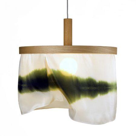 Oak and silk pendant lamp Sognsvann